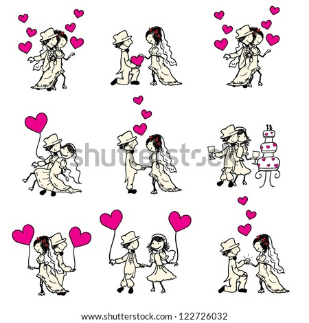 cute wedding couple with pink hearts - stock vector