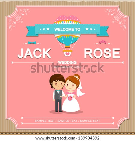 Cute Wedding Invitation Card Template Vectorillustration Stock