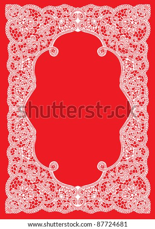 Cute wedding invitation card with lace ornament frame - stock vector