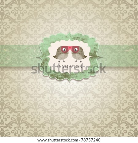 Cute wedding invitation card with vintage ornament background. - stock vector