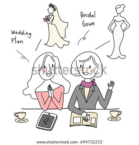Cute Wedding Planner Planning Wedding Party Stock Vector 694732252