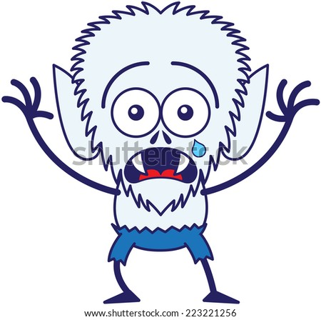 Cute werewolf with big head, bulging eyes, blue pants, blue fur and sharp fangs while staring at you, crying, raising its right hand and posing in a very scared mood - stock vector