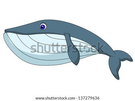 Cute whale cartoon - stock vector