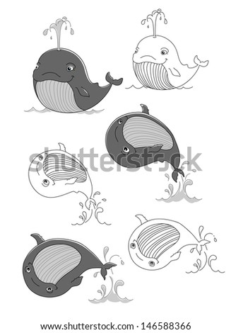 cute whale swims, jumps out of the water, vector illustration, black and white - stock vector