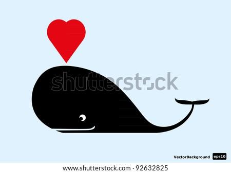cute whale. Vector illustration - stock vector