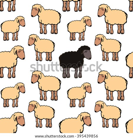 Cute white and black sheep seamless pattern background design