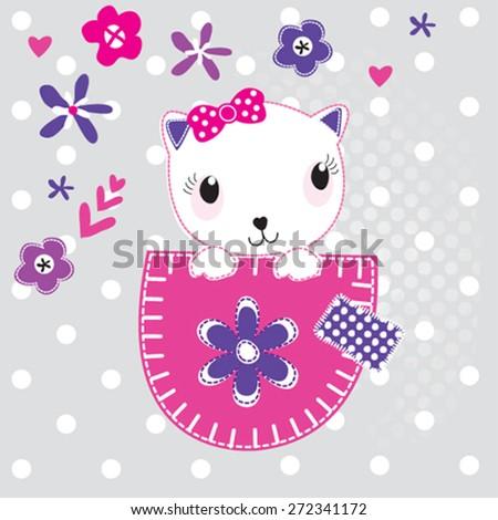 cute white cat, T-shirt design vector illustration - stock vector