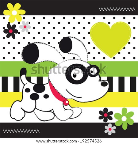 cute white dog striped background vector illustration - stock vector