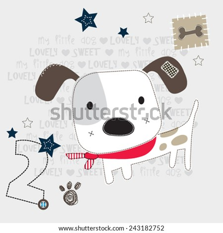 cute white dog vector illustration - stock vector