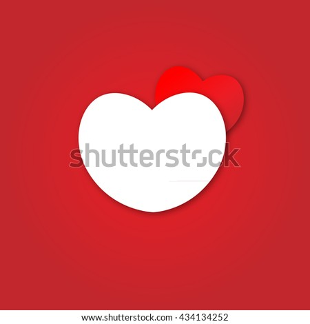 Cute white heart and red heart on red background - stock vector