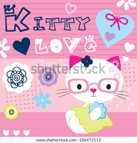 cute white kitty vector illustration - stock vector