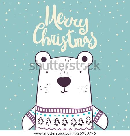 cute polar bear knit scarf merry stock vector 513024718. Black Bedroom Furniture Sets. Home Design Ideas