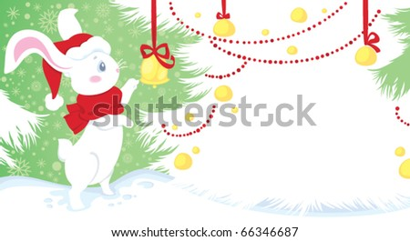 Cute white rabbit - symbol of Chinese horoscope for New Year - stock vector