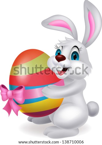 Cute white rabbit with easter egg - stock vector