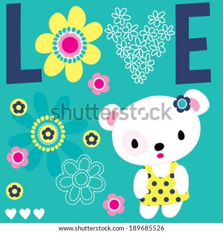 cute white teddy bear flowers love background vector illustration - stock vector