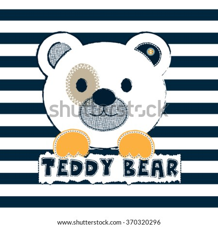 cute white teddy bear on striped background vector illustration - stock vector
