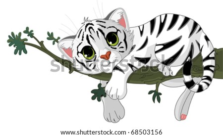 Cute white Tiger is on a branch - stock vector