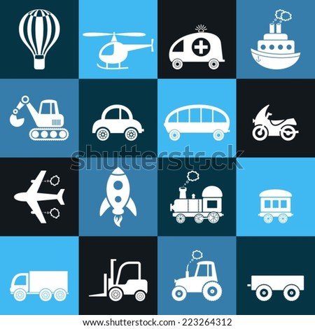 Cute white vector transport icons in blue squares - stock vector