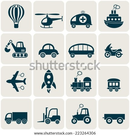 Cute white vector transport icons in retro squares - stock vector