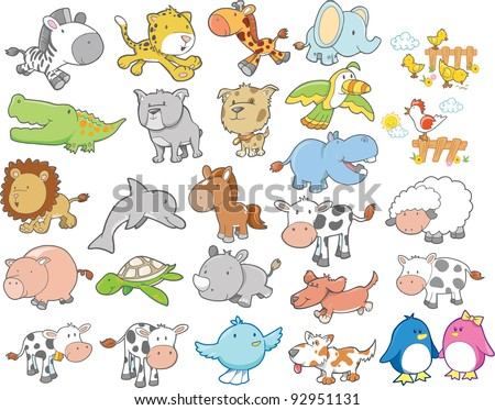 Cute Wild Farm Animal Vector Design Elements Set - stock vector