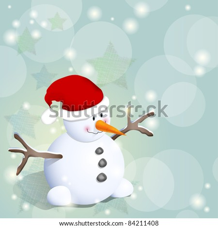Cute winter background with snowman and stars - stock vector