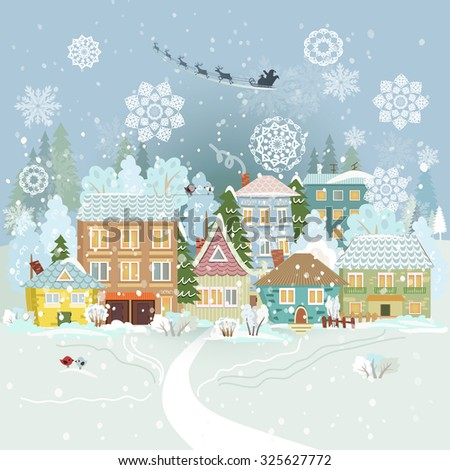 Cute winter cityscape. Merry Christmas. - stock vector