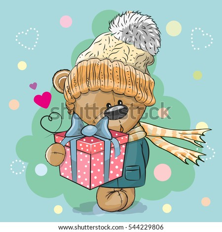 Cute winter illustration Teddy Bear Boy in hat and coat with gift