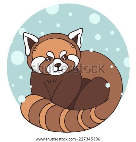Cute winter red panda. Hand drawn vector illustration.  - stock vector