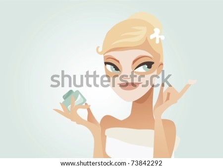 Cute woman applying facial mask vector illustration - stock vector