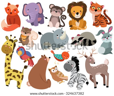 Cute Woodland and Jungle Animals Vector Set - stock vector