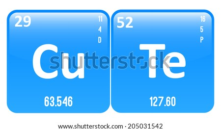 Cute word made periodic table elements stock photo photo vector cute word made of periodic table elements copper and tellurium urtaz Image collections