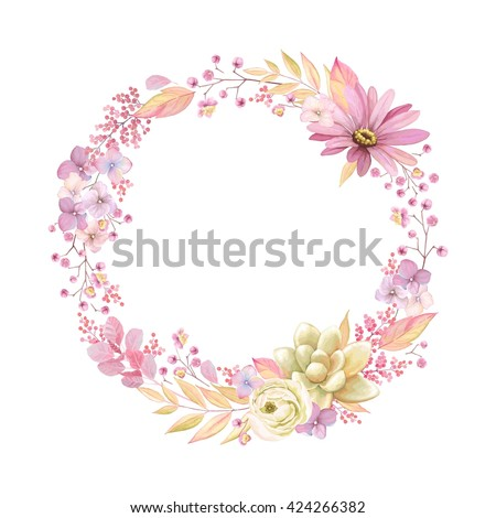 Cute wreath with leaves, ranunculus, Pyrethrum and Succulent, vector illustration in vintage watercolor style. Romantic design. - stock vector