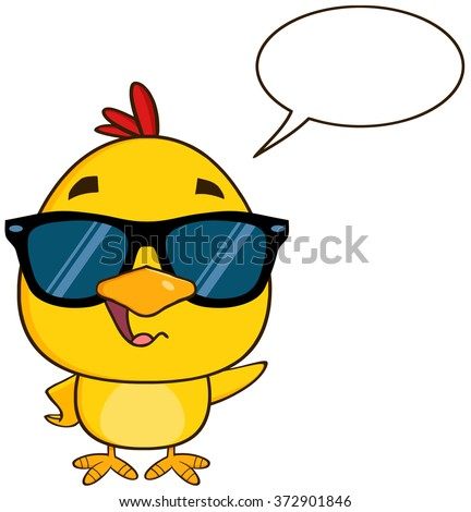 Cute Yellow Chick Cartoon Character Wearing Sunglasses, Talking And Waving. Vector Illustration Isolated On White - stock vector
