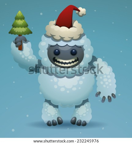 Cute Yeti with Christmas tree, vector - stock vector
