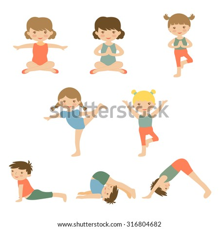 Cute yoga kids characters collection. Illustration in vector format
