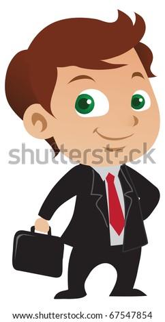 Cute young businessman with a positive attitude holding a briefcase. - stock vector
