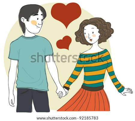 Cute young couple in love hand in hand - stock vector