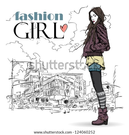 Cute young fashion girl on a street background. Hand drawn vector illustration. - stock vector