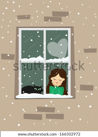Cute young girl with kitty, in love dreaming at window.Vector illustration - stock vector