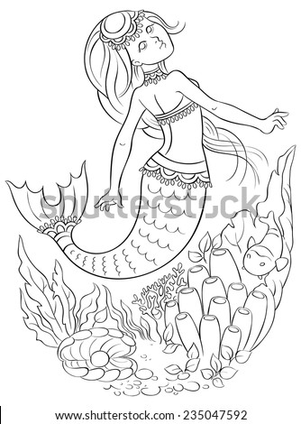 Cute young mermaid swimming underwater in the ocean. Colouring page. Also available colored version - stock vector