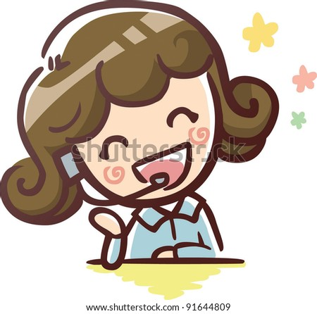 Cute Young Operator with a happy smile - stock vector