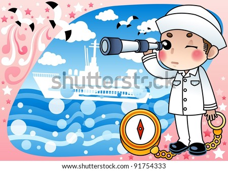 Cute Young Serviceperson with Compass on pink and blue background