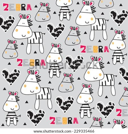 cute zebra with heart pattern vector illustration - stock vector