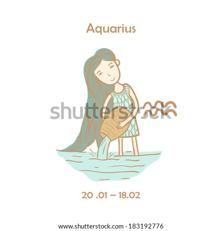 Cute zodiac sign - Aquarius. Vector illustration. Cute girl in the sea - stock vector