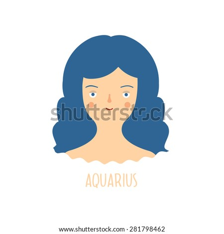 Cute zodiac sign - Aquarius. Vector illustration. Zodiac beautiful girl - stock vector