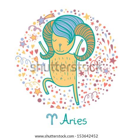 Cute zodiac sign - Aries. Vector illustration - stock vector