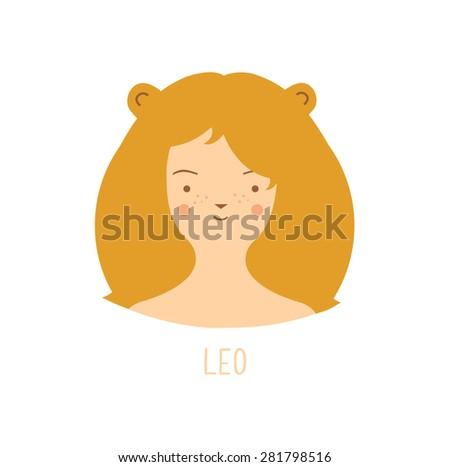 Cute zodiac sign - Leo. Vector illustration. Zodiac beautiful girl - stock vector