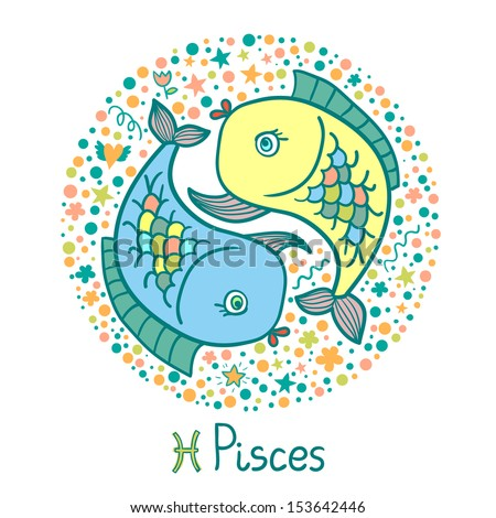 Cute zodiac sign - Pisces. Vector illustration - stock vector