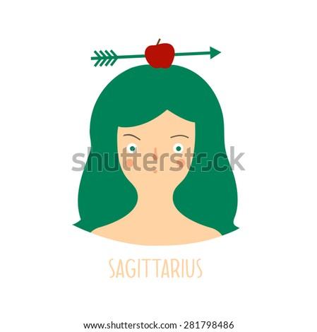 Cute zodiac sign - Sagittarius. Vector illustration. Zodiac beautiful girl - stock vector