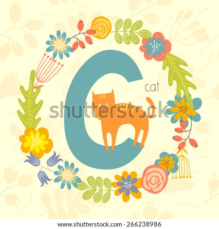 Cute Zoo alphabet, Cat with letter C and floral wreath in vector.  - stock vector
